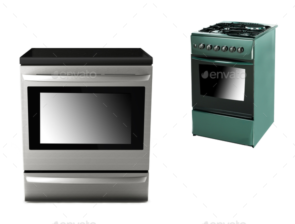 gas-stove with electric cooker isolated - Stock Photo - Images