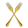 golden forks crossed isolated