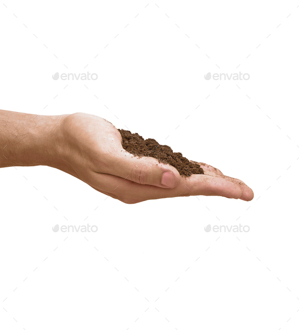 soil in hand isolated - Stock Photo - Images