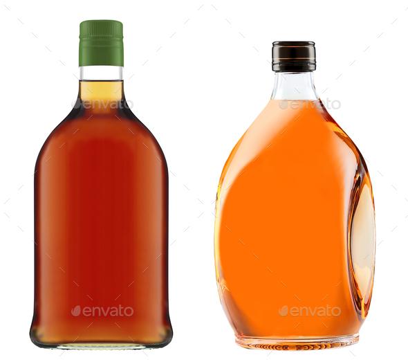Full whiskey bottles isolated - Stock Photo - Images