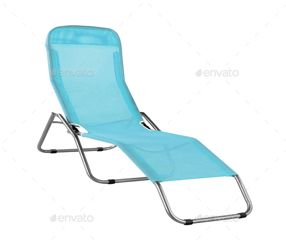blue deckchair isolated - Stock Photo - Images
