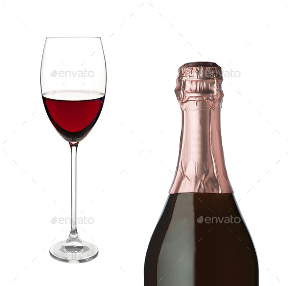 Champagne bottle and champagne glass isolated - Stock Photo - Images