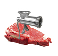 Classic meat grinder isolated on meat