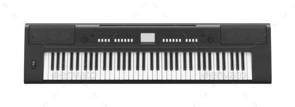 Dark Gray Synthesizer isolated - Stock Photo - Images