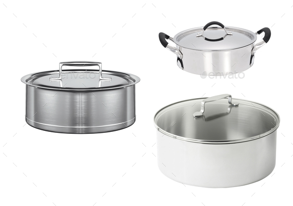 stainless pans isolated - Stock Photo - Images