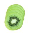 Slices of fresh kiwi fruit isolated