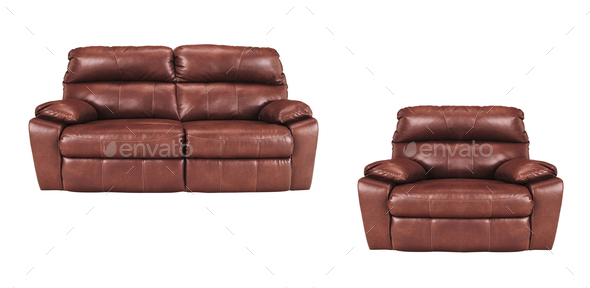 Sofa and chair isolated on white - Stock Photo - Images