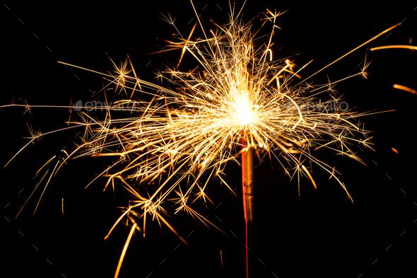 burning christmas sparkler - Stock Photo - Images