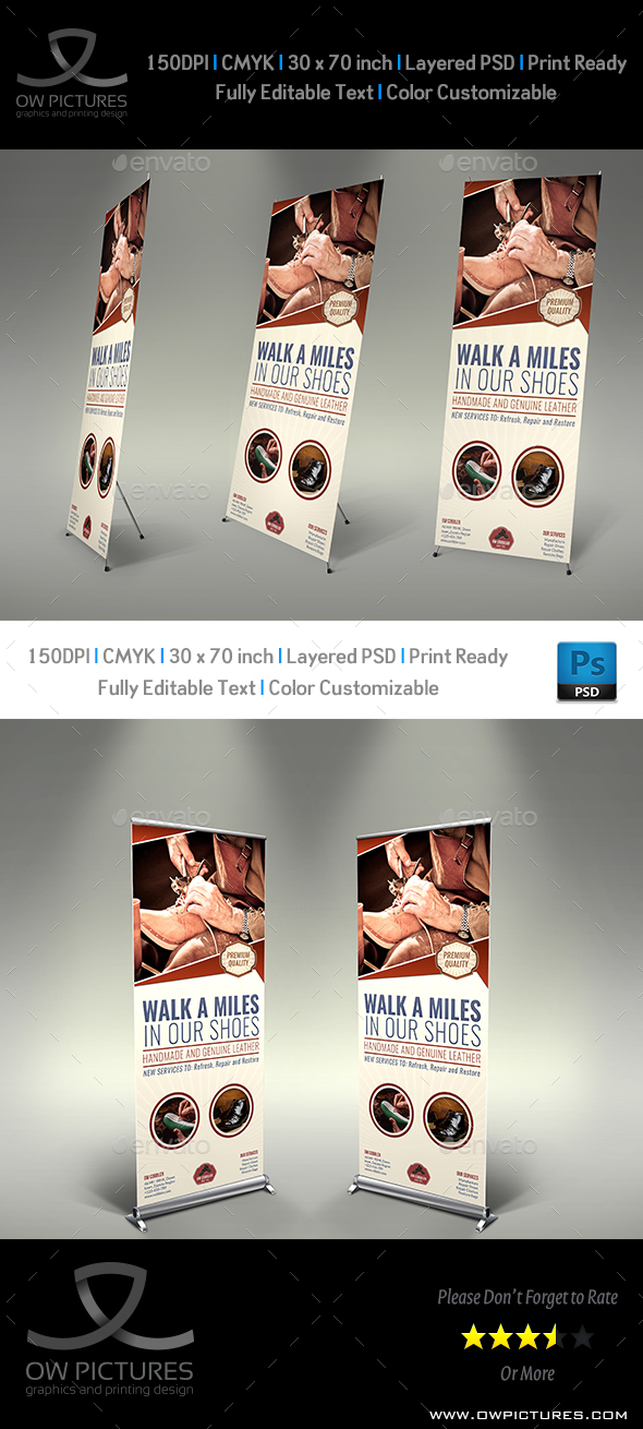 Cobbler Signage Roll Up Banner Template - Signage Print Templates