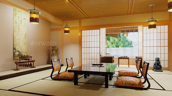 Japanese Interior Design 3d Illustration - Architecture 3D Renders