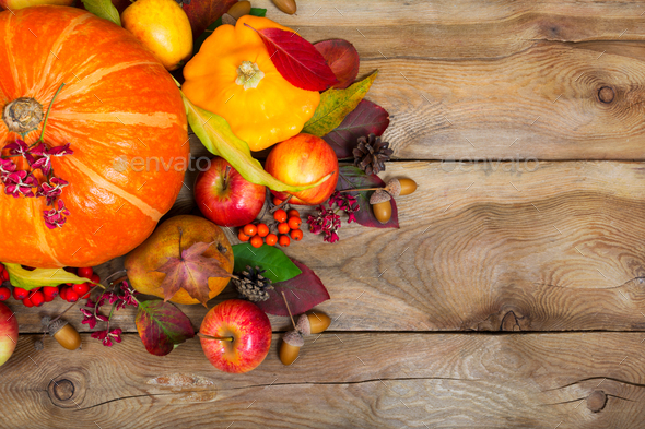 Thanksgiving background with pumpkin, yellow squash, apples, lea - Stock Photo - Images