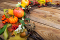 Thanksgiving wreath with pumpkins, apples, white berries, copy s