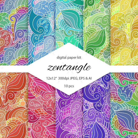 Zentangle Digital Paper Pack - Backgrounds Decorative