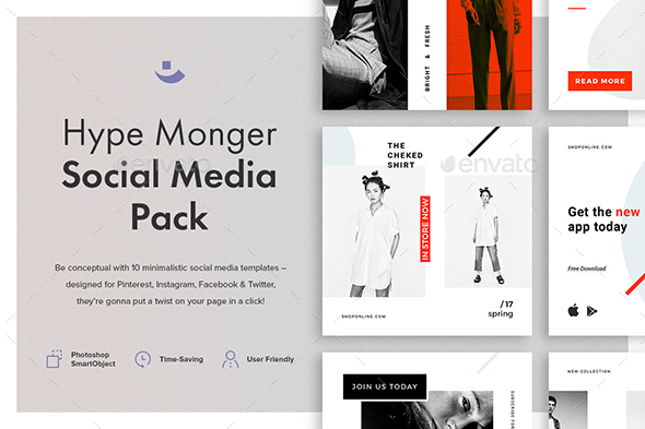Hype Monger Social Media Pack - Social Media Web Elements