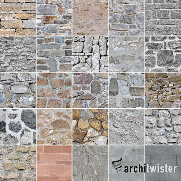 3DOcean 25 Seamless Stone Wall Textures 20841246