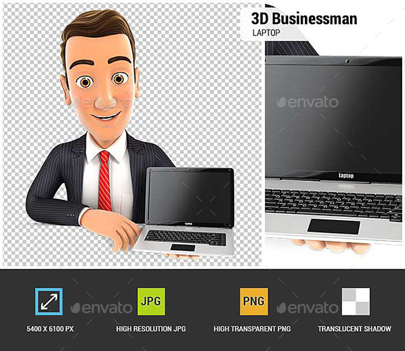 GraphicRiver 3D Businessman Behind Wall Holding Laptop 20841284
