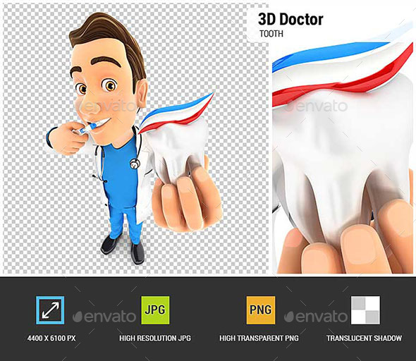 GraphicRiver 3D Doctor Brushing his Teeth and Holding Tooth 20841295