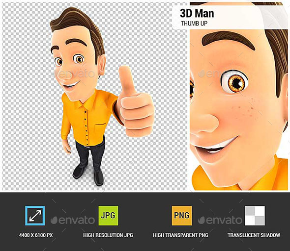 3D Man Positive Pose with Thumb Up - Characters 3D Renders