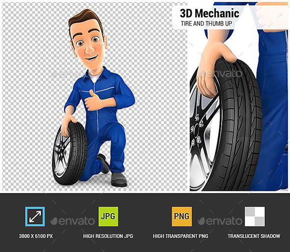 GraphicRiver 3D Mechanic with Tire and Thumb Up 20841331