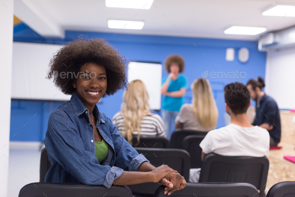 Portrait informal African American business woman - Stock Photo - Images