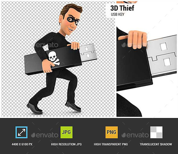 3D Thief Holding USB Key - Characters 3D Renders