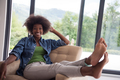 black women at home in the chair - PhotoDune Item for Sale