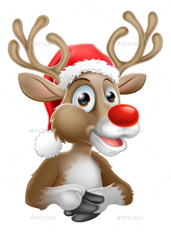 Cartoon Reindeer With Christmas Santa Hat - Christmas Seasons/Holidays