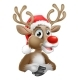 Cartoon Reindeer With Christmas Santa Hat
