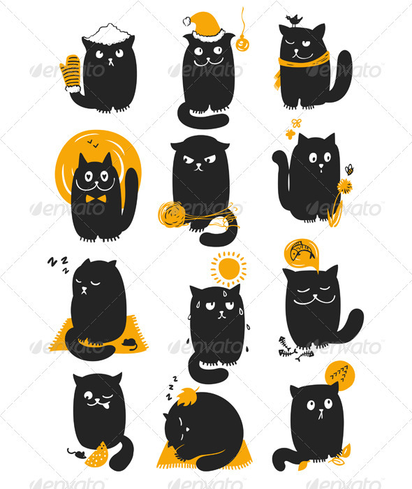 Cat In Seasons - Animals Characters