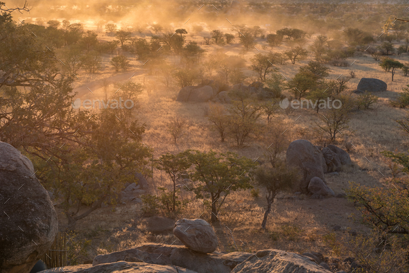 Sunset landscape with lots of dust at the Hoada Camp - Stock Photo - Images