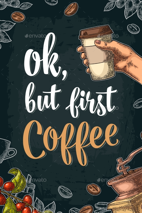 GraphicRiver Ok But First Coffee Lettering 20842369