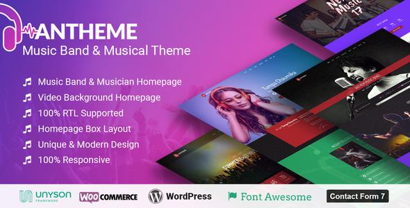 Anthem - Music Band Artist & Musical Event WordPress Theme