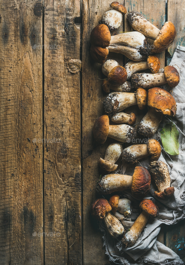 Fresh uncooked white forest mushrooms on wooden background - Stock Photo - Images