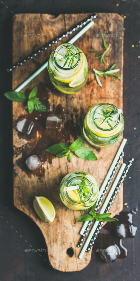 Dieting healthy infused citrus iced sassi water in glass bottles - Stock Photo - Images