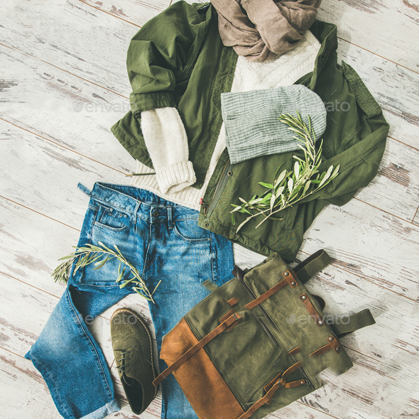 Flat-lay of Fall lady' s outfit on parquet, square crop - Stock Photo - Images