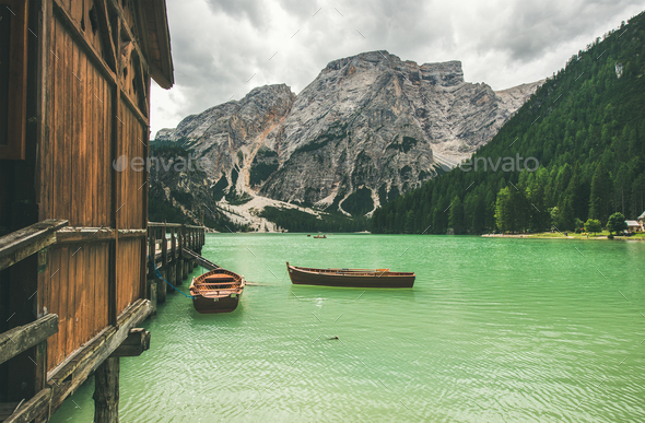 Mountain Lake in Valle di Braies in the Dolomite Alps - Stock Photo - Images