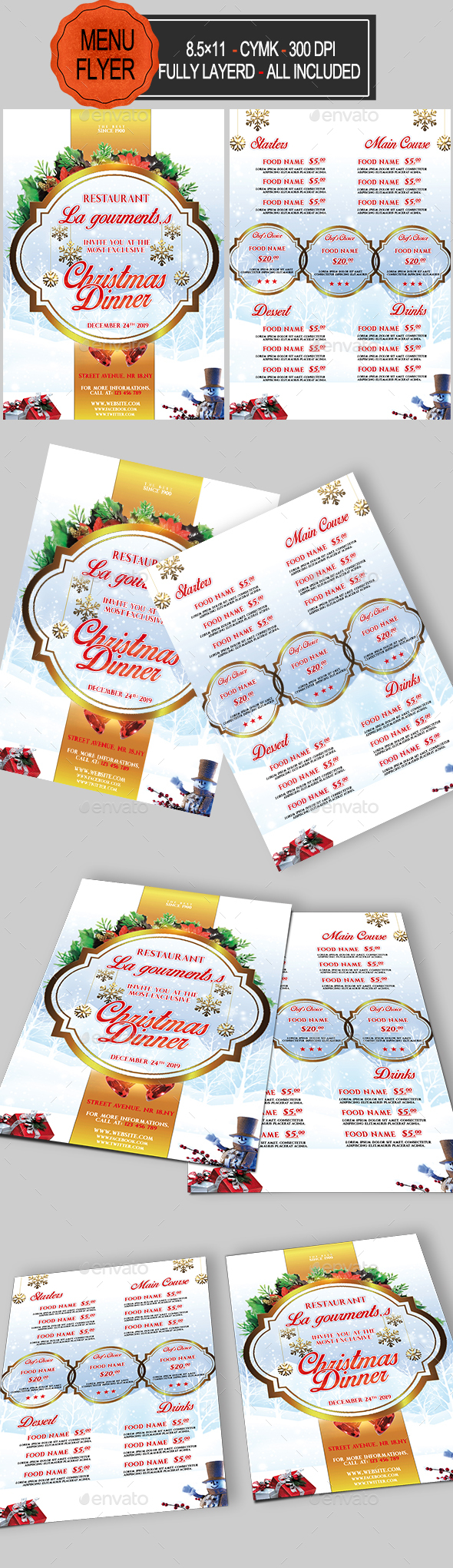 Christmas Menu - Food Menus Print Templates