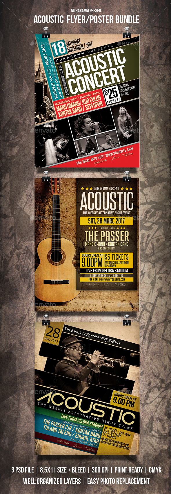 Acoustic Flyer / Poster Bundle - Events Flyers