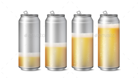 Realistic Beer Cans Mockup Vector - Food Objects