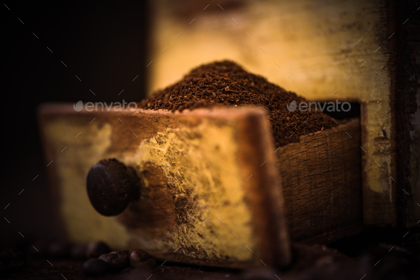 Fresh grinder coffee beans - Stock Photo - Images