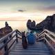 Best friends wanderlust watching sunrise at beach - PhotoDune Item for Sale