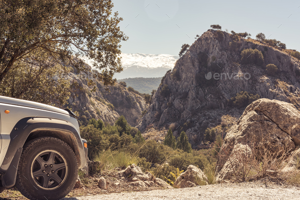 Road trip in off road car off beaten track. - Stock Photo - Images