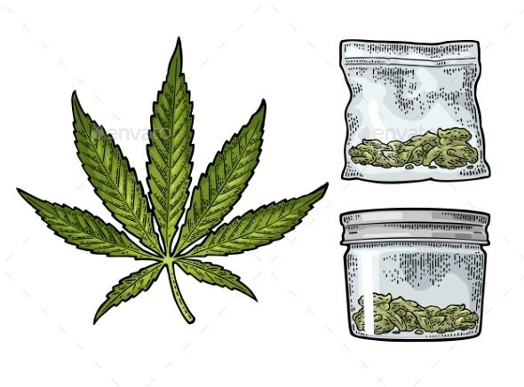 GraphicRiver Glass Jar and Plastic Bag for Smoking Cannabis 20843689