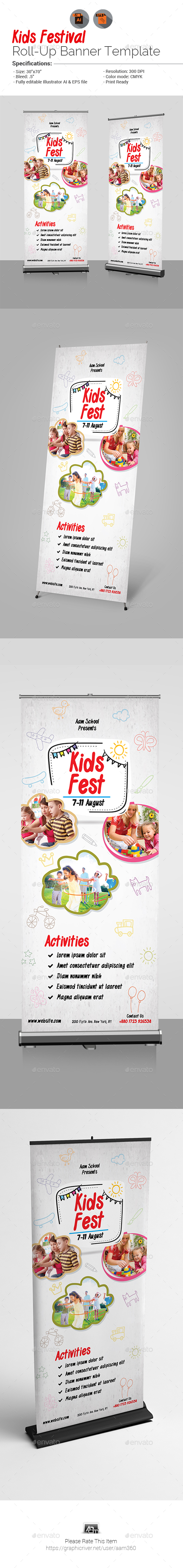 Kids Fest Roll-Up Banner - Signage Print Templates