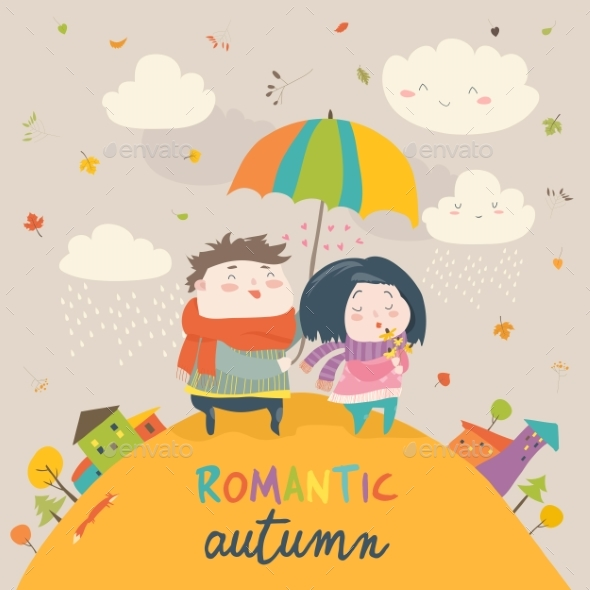 GraphicRiver Couple with an Umbrella in the Autumn Rain 20843780