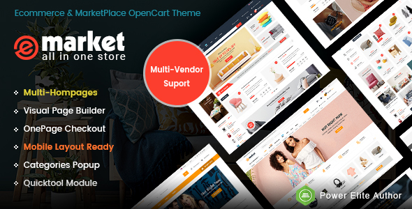 Image of eMarket - The eCommerce & Multi-purpose MarketPlace OpenCart 3 Theme (Mobile Layouts Included)