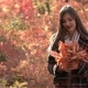 Beautiful Young Caucasian Girl with Makeup Poses on Camera in Autumn Forest - VideoHive Item for Sale