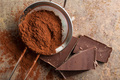 Dark cocoa powder in a sieve and chocolate. - PhotoDune Item for Sale