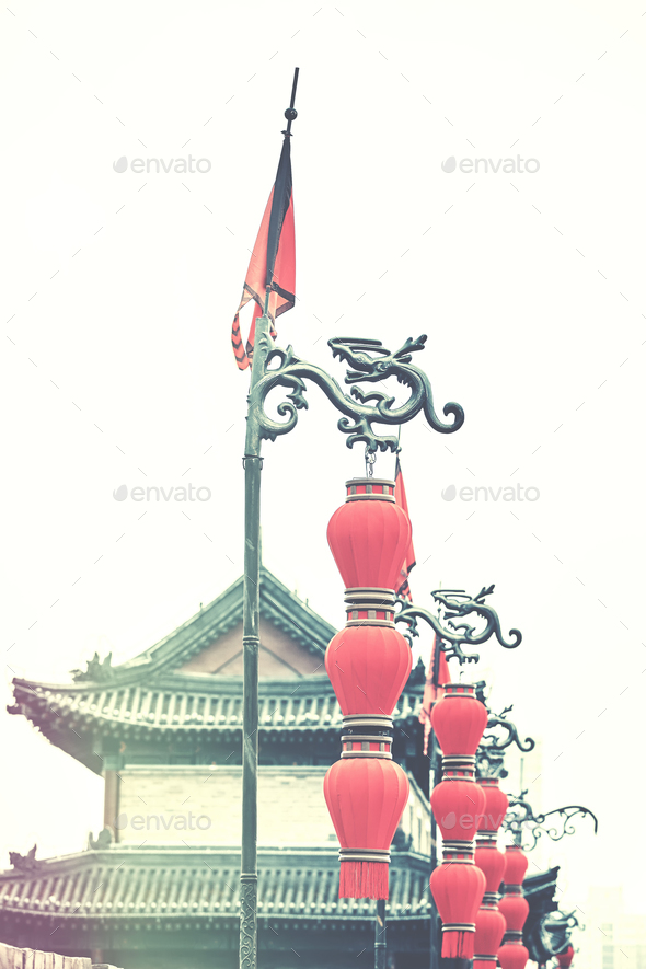 Chinese red lanterns in Xian, China. - Stock Photo - Images