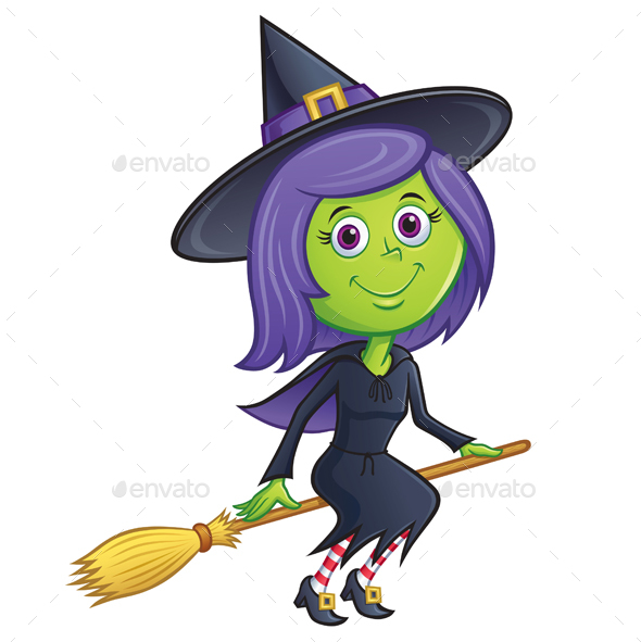Girl Witch Riding Her Broom - Halloween Seasons/Holidays